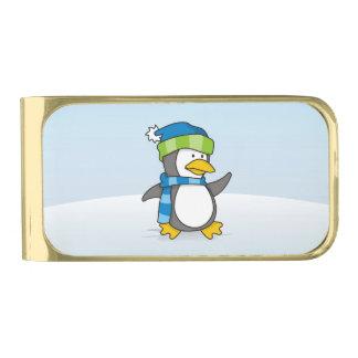 雪の小さいペンギンの歩く ゴールド マネークリップ