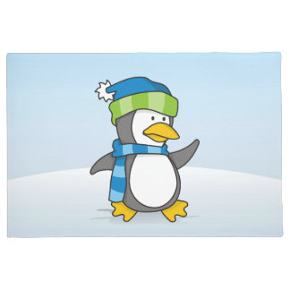 雪の小さいペンギンの歩く ドアマット