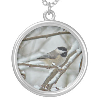 雪の嵐の黒おおわれた《鳥》アメリカゴガラ シルバープレートネックレス