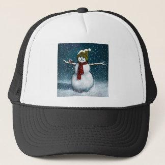 雪の微笑の雪だるま: 《鳥》アメリカゴガラ: パステル調の芸術 キャップ