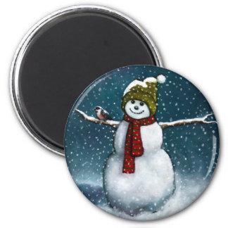 雪の微笑の雪だるま: 《鳥》アメリカゴガラ: パステル調の芸術 マグネット