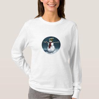 雪の微笑の雪だるま: 《鳥》アメリカゴガラ: パステル調の芸術 Tシャツ