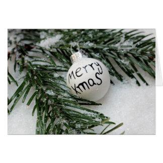 雪の挨拶状のメリークリスマスBaubel カード