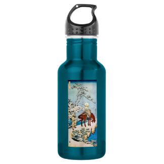 雪の旅人、雪、Hokusai、Ukiyo-eの北斎の旅行者 ウォーターボトル