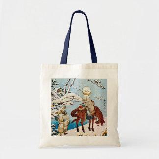 雪の旅人、雪、Hokusai、Ukiyo-eの北斎の旅行者 トートバッグ