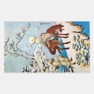 雪の旅人、雪、Hokusai、Ukiyo-eの北斎の旅行者 長方形シール