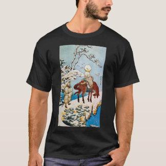 雪の旅人、雪、Hokusai、Ukiyo-eの北斎の旅行者 Tシャツ
