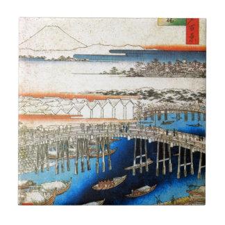 雪の日本橋、広重Snowy Nihonbashi、Hiroshige、Ukiyo-e タイル