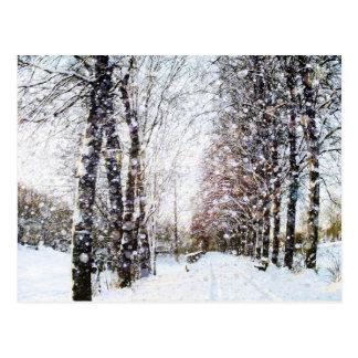 雪の景色のクリスマスの郵便はがき ポストカード