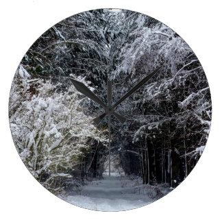 雪の景色の時計 ラージ壁時計