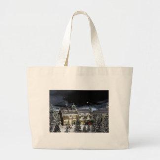 雪の村 ラージトートバッグ