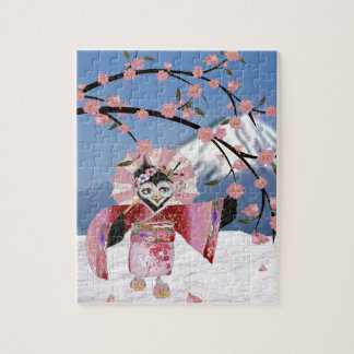 雪の桜の桜の芸者の鳥 ジグソーパズル