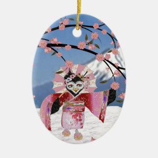 雪の桜の桜の芸者の鳥 セラミックオーナメント