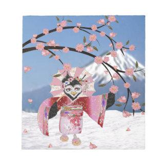 雪の桜の桜の芸者の鳥 ノートパッド