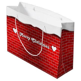雪の漂流- Snowyの上が付いている赤レンガ ラージペーパーバッグ