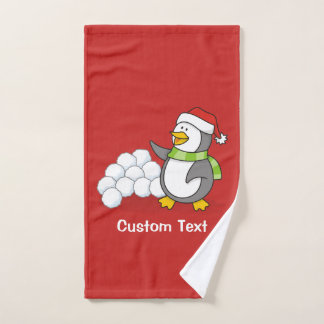雪の球の振ることを用いるクリスマスのペンギン バスタオルセット