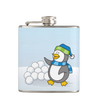 雪の球の振ることを用いる小さいペンギン フラスク