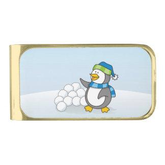 雪の球の振ることを用いる小さいペンギン 金色 マネークリップ