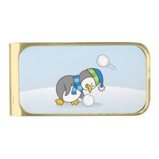 雪の球を得ている小さいペンギン ゴールド マネークリップ