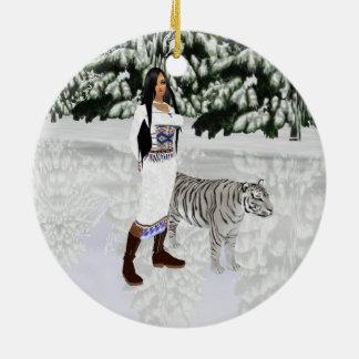雪の白いトラの円形のオーナメント セラミックオーナメント