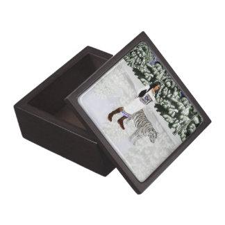 雪の白いトラの記念品箱 ギフトボックス