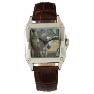 雪の白馬、女性ブラウン革腕時計 腕時計
