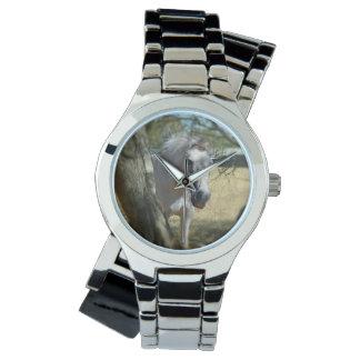 雪の白馬、女性銀の覆いの腕時計 腕時計