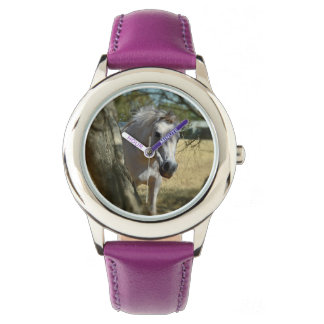 雪の白馬、子供の紫色の革腕時計 腕時計