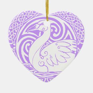 """雪の白鳥- """"地球の平和"""" 陶器製ハート型オーナメント"""