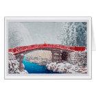 雪の神橋、Nikkô、Hasuiの神聖な橋の雪 カード