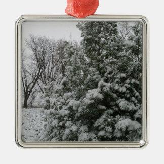 雪の秋が付いている冬の不思議の国の松の木 メタルオーナメント