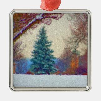雪の絵画のオーナメントの常緑樹 メタルオーナメント