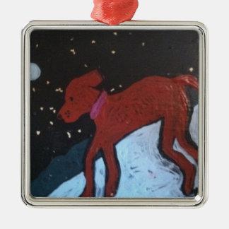 雪の絵画のクリスマスのオーナメントの犬 メタルオーナメント
