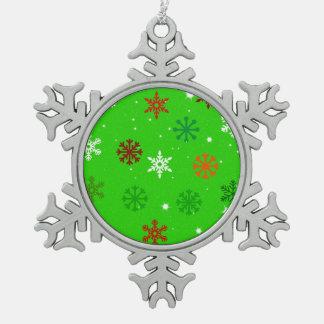 雪の群は緑化します スノーフレークピューターオーナメント