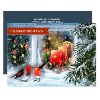 雪の背景画のクリスマスのパーティの招待状 カード