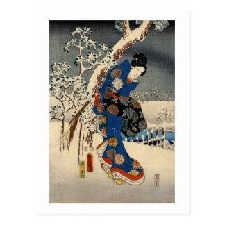 雪の芸者、雪の豊国Geisya、Toyokuni、Ukiyo-e ポストカード