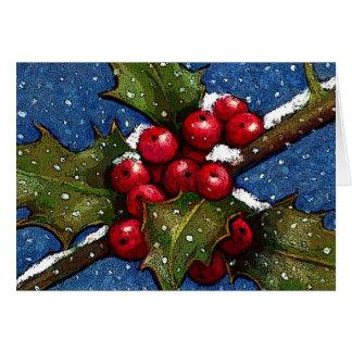 雪の落下を用いるヒイラギの葉そして果実 グリーティングカード
