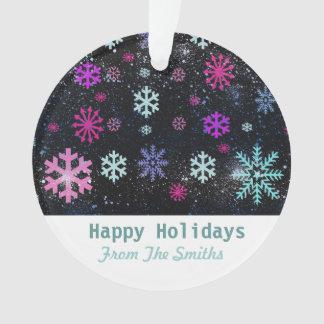 雪の薄片およびカスタムなクリスマスの挨拶 オーナメント