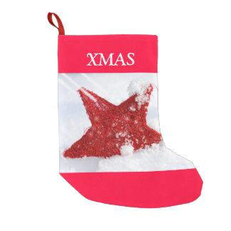 雪の赤い星 スモールクリスマスストッキング