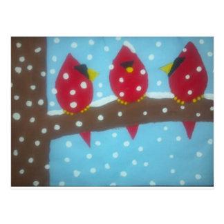 雪の赤い(鳥)ショウジョウコウカンチョウ ポストカード