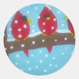 雪の赤い(鳥)ショウジョウコウカンチョウ ラウンドシール