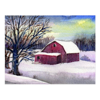 雪の郵便はがきの赤い納屋 ポストカード