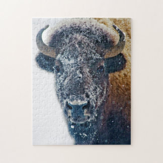 雪の野性生物のパズルのアメリカ野牛 ジグソーパズル