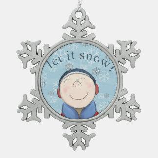 雪の雪片のオーナメントの幸せで小さい男の子 スノーフレークピューターオーナメント