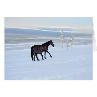雪の馬そして子馬 カード