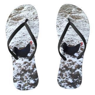 雪の鶏のビーチサンダル ビーチサンダル