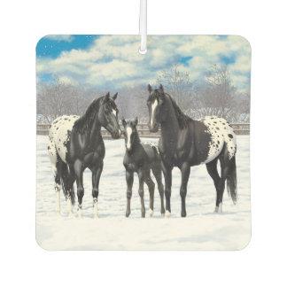 雪の黒いAppaloosaの馬 カーエアーフレッシュナー