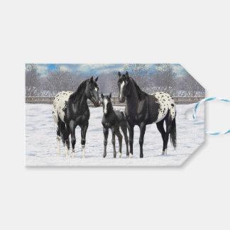 雪の黒いAppaloosaの馬 ギフトタグ