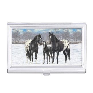 雪の黒いAppaloosaの馬 名刺入れ