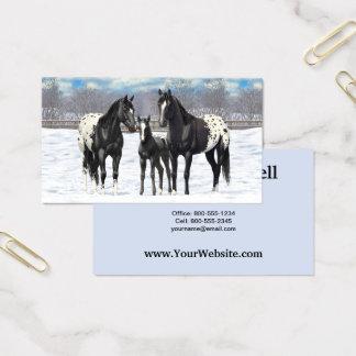 雪の黒いAppaloosaの馬 名刺